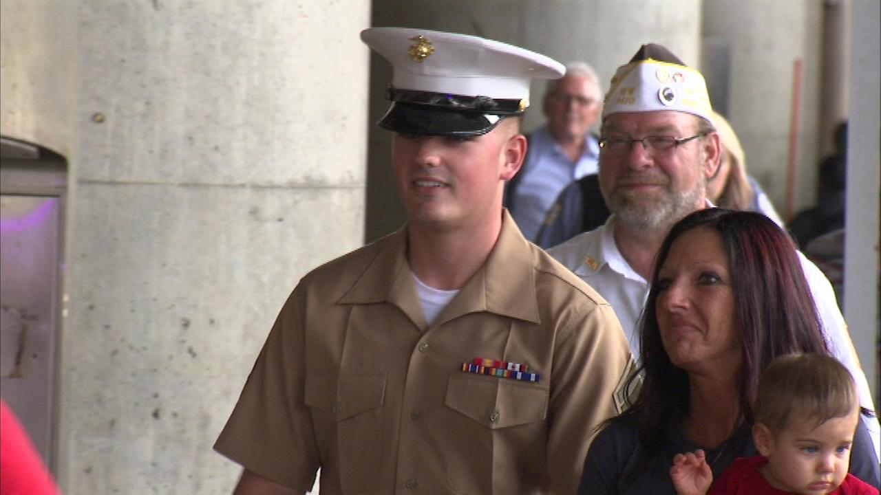 A LaSalle County family welcomed home Marine Cpl. Jacob Moyer at Midway on Friday.