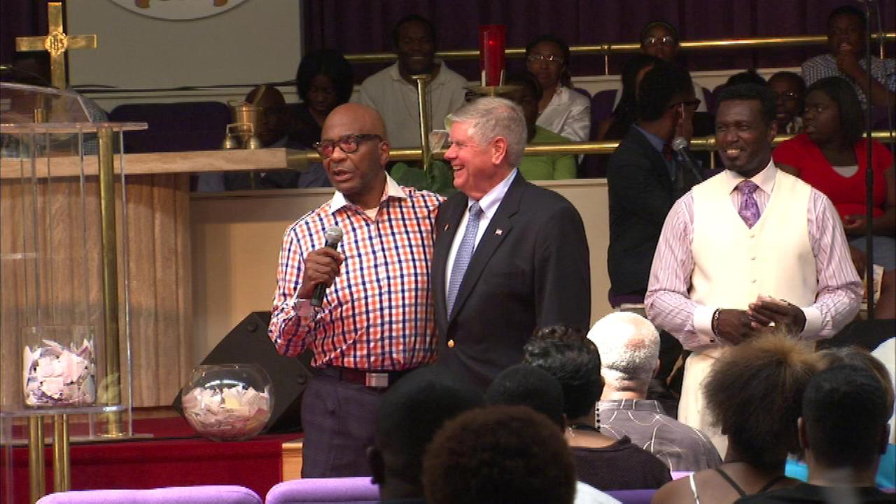 Bishop Larry Trotter announced his support for U.S. Senate candidate Jim Oberweis at his Sweet Holy Spirit Church on South Chicago Sunday afternoon.