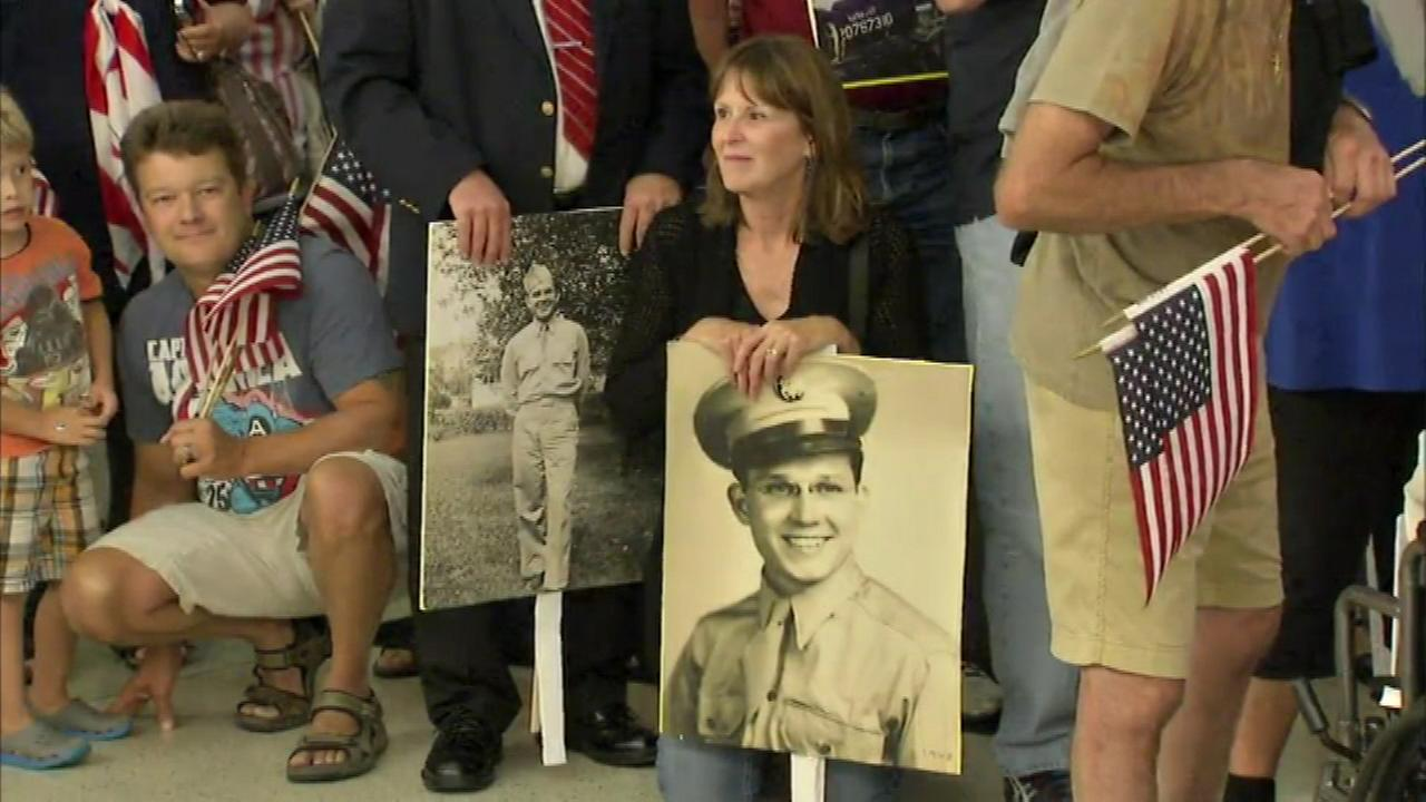 There was a big welcome home at Midway Airport for 95 World War II vets from the Chicago area.