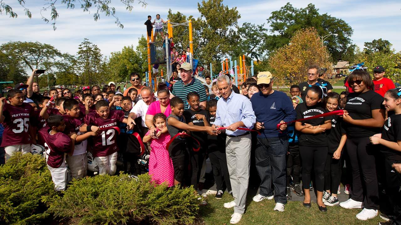 Mayor Rahm Emanuel attended a ribbon-cutting at a refurbished playground on the citys Northwest Side as part of the Chicago Plays! program.