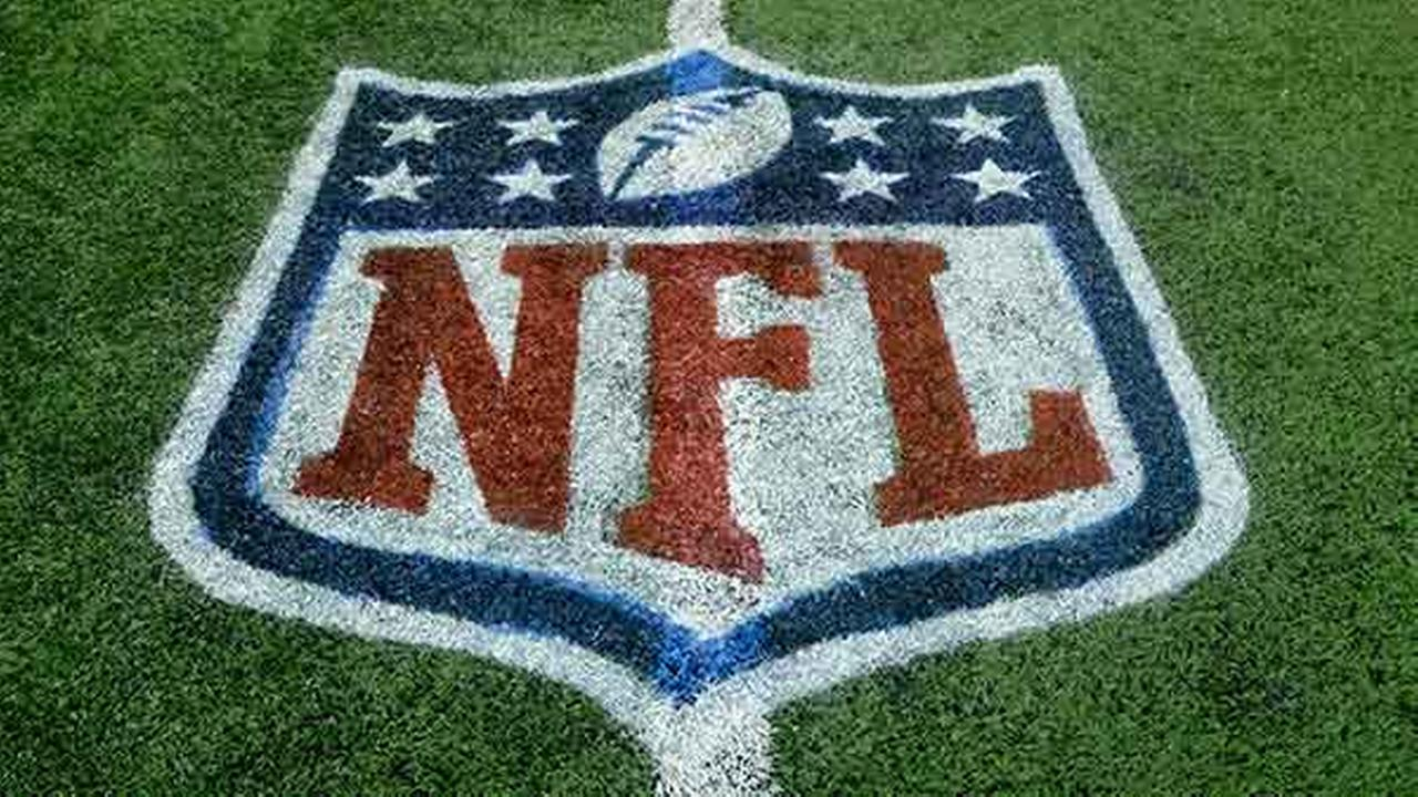 NFL logo painted on the field before an NFL football game between the Detroit Lions and the Green Bay Packers on Sept. 21, 2014,