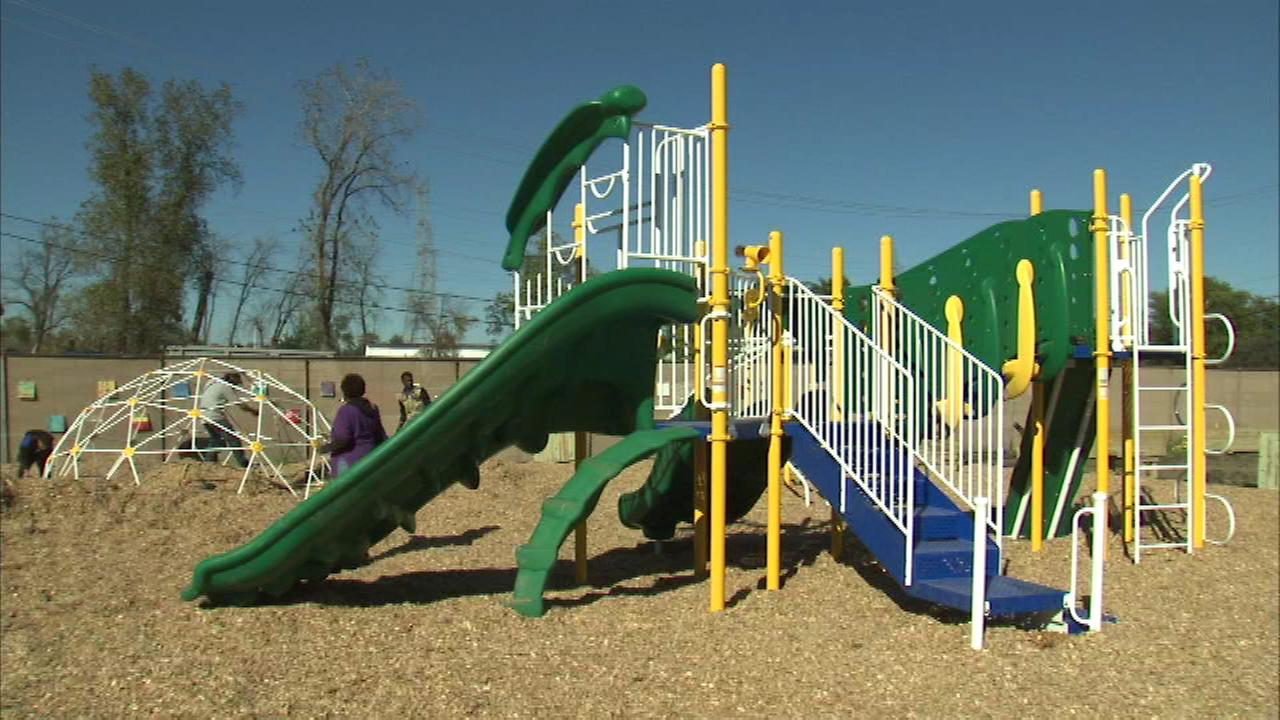 Hundreds of volunteers turned out Saturday to build a new place for kids to play in Dixmoor.