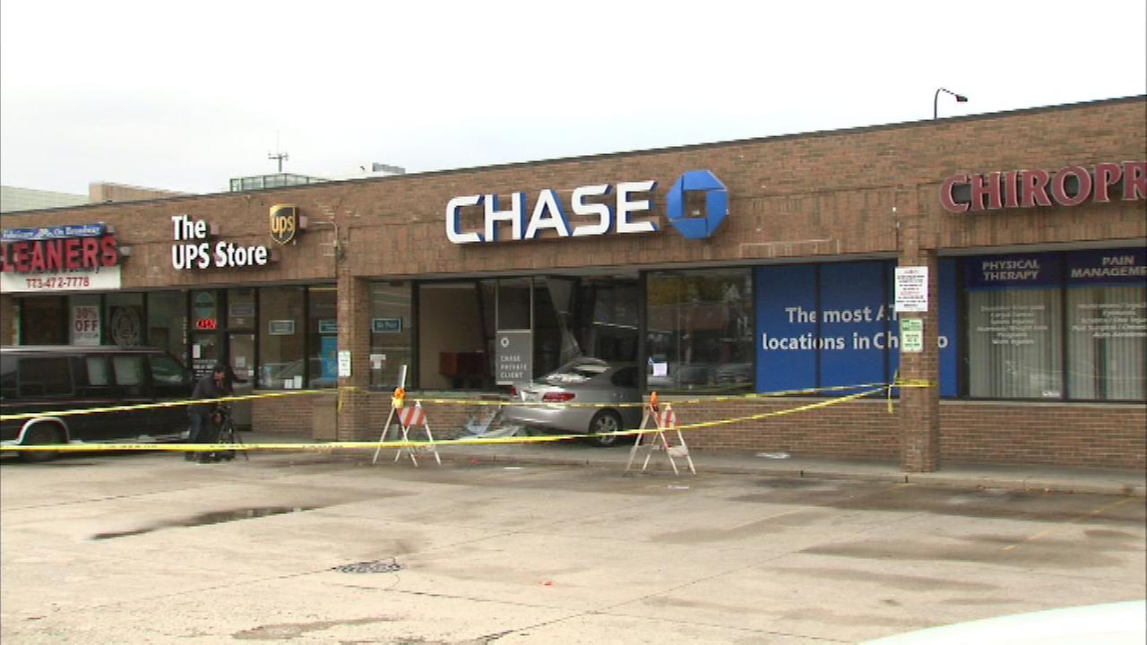 A car crashed into a Chase Bank branch on the North Side Saturday.
