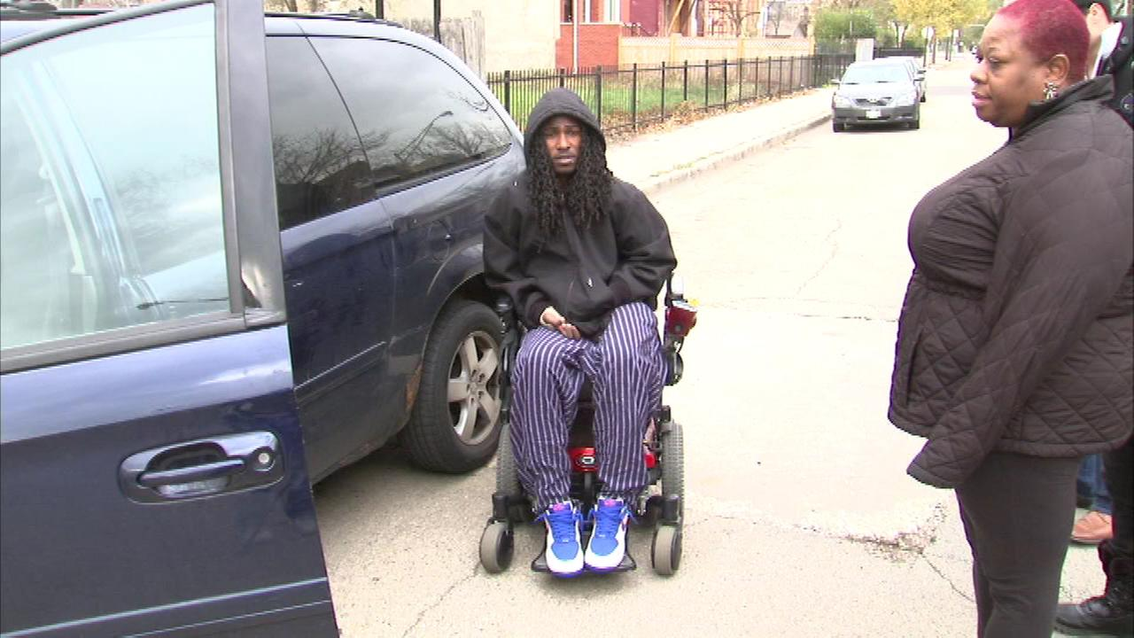 Ondelee Perteet, 19, uses the van and his special motorized wheelchair to get around.