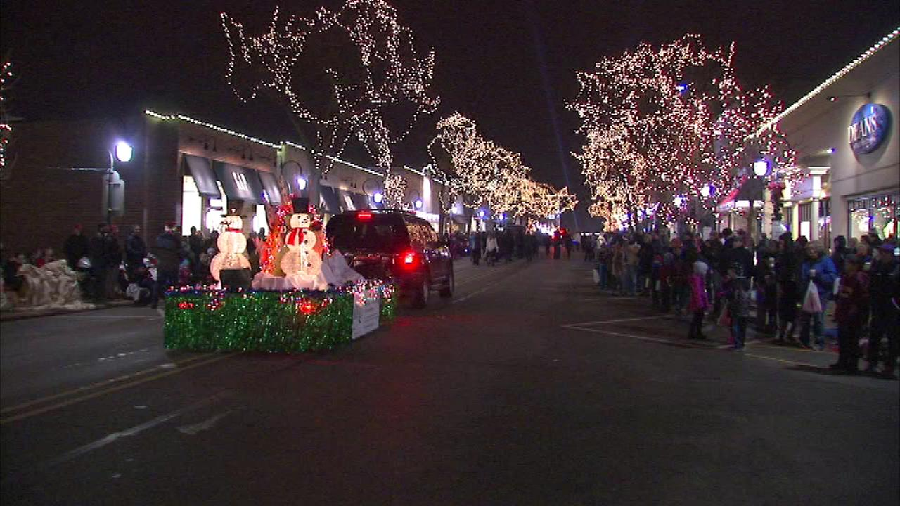 Thousands helped wrap up the Thanksgiving holiday weekend at the annual Parade of Lights festival in west suburban Naperville Sunday night.