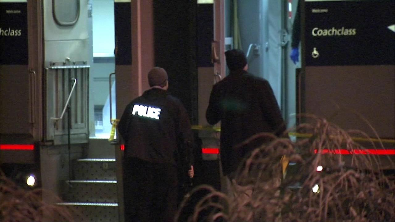 Police investigate after four people were stabbed on board an Amtrak train in southwestern Michigan Friday evening.