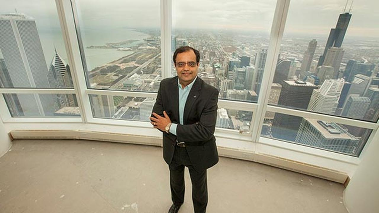 Sanjay Shah, Founder and CEO of global technology company Vistex, Inc. enjoys the view from his new residence - the Trump International Hotel and Tower penthouse.
