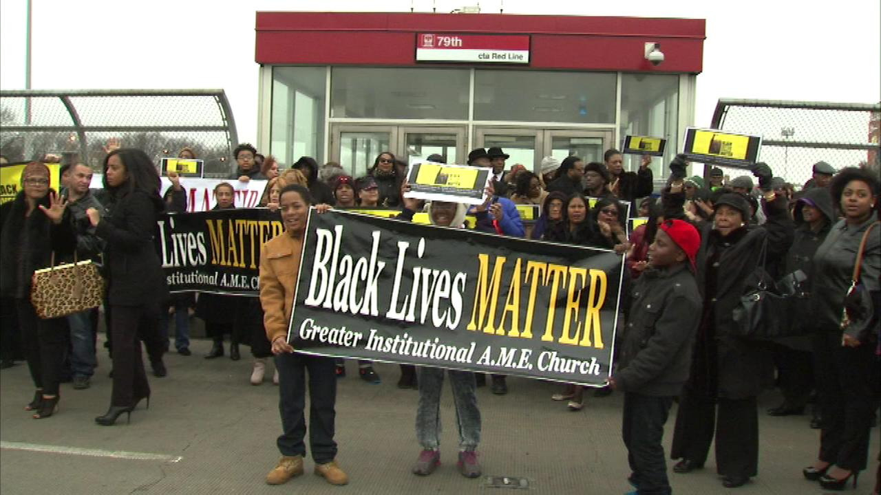 A church on the citys South Side held a peaceful march to protest the deaths of Eric Garner and Michael Brown.