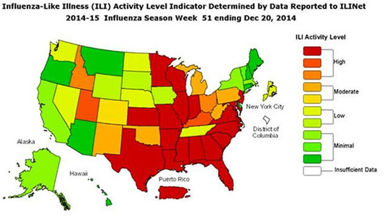 Ill. reports high flu activity, CDC says nation at epidemic threshold
