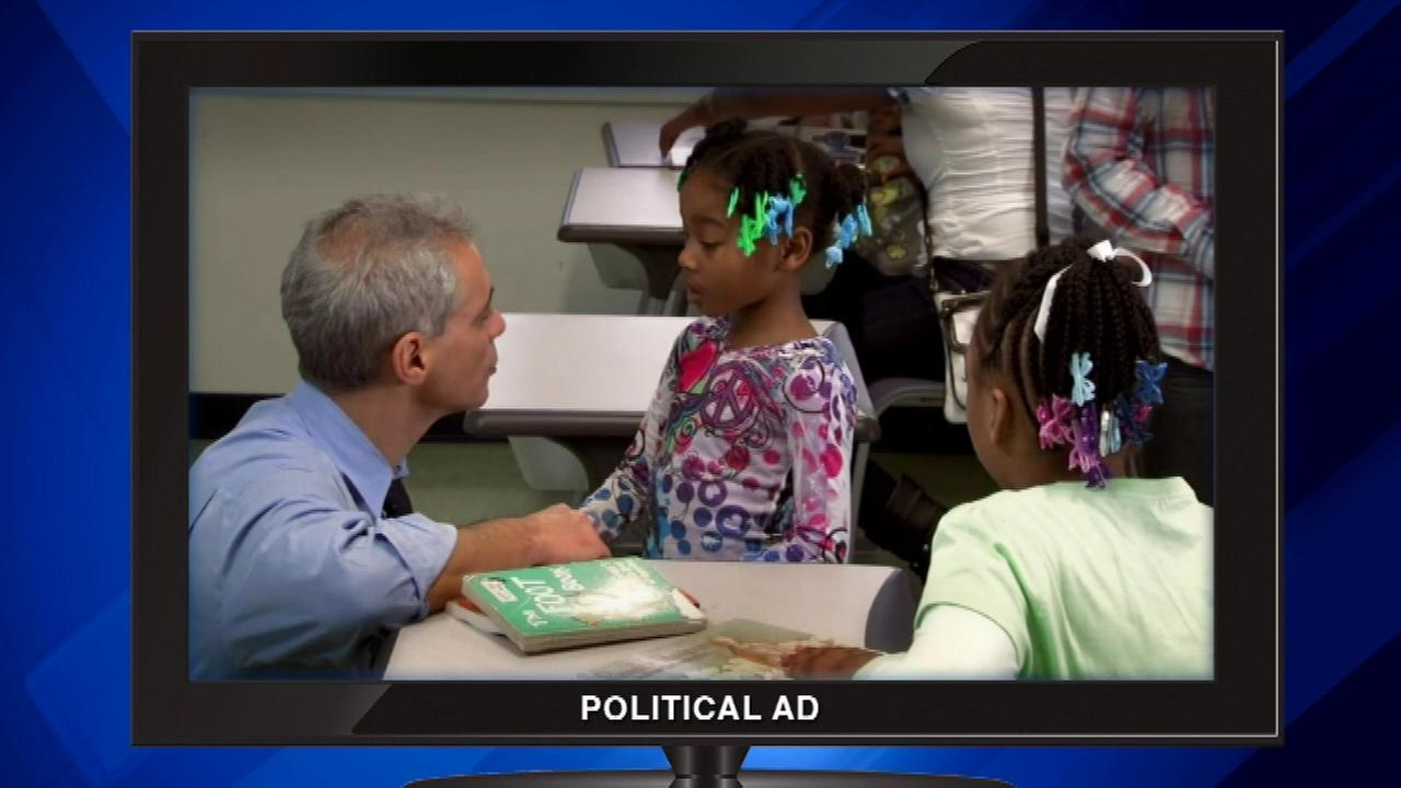 Mayor Rahm Emanuels campaign unveiled a new ad focusing on what it calls education successes.