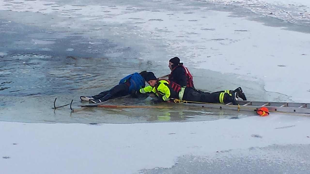Emergency crews rescued a boy from a pond at 71st and Dexter in Downers Grove.