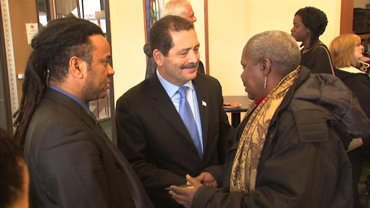 Chicago mayor candidate Jesus Chuy Garcia spoke to voters during several stops in Hyde Park Sunday.