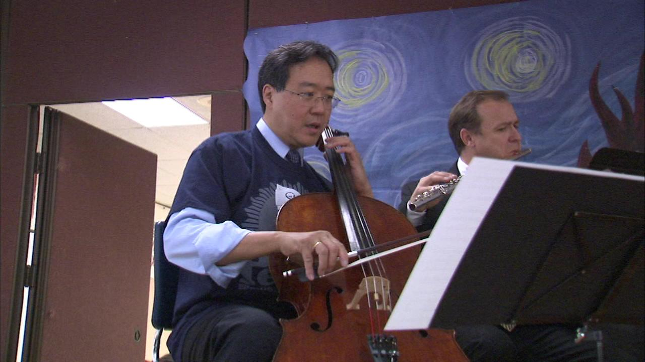 Yo-Yo Ma and the Civic Orchestra of Chicago serenaded their audience at Lane Tech High School.