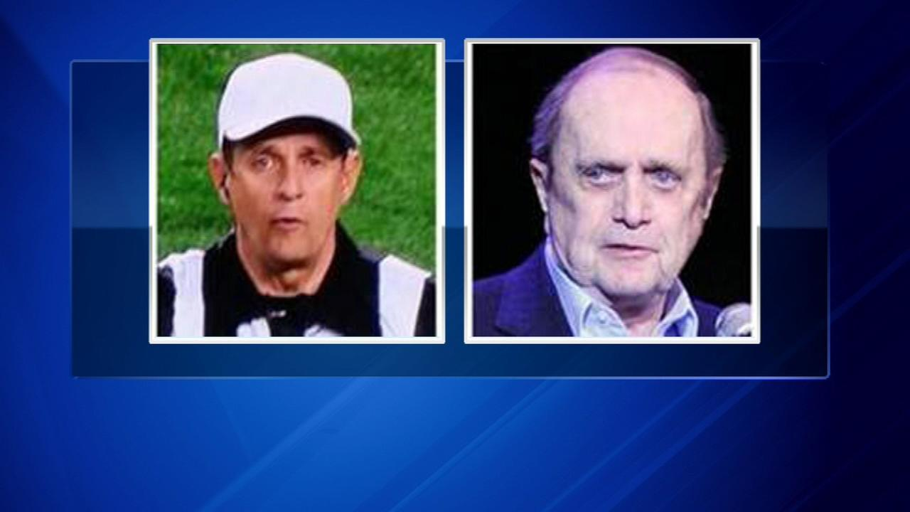 Comedian Bob Newhart, right, and NCAA referee Greg Burks.