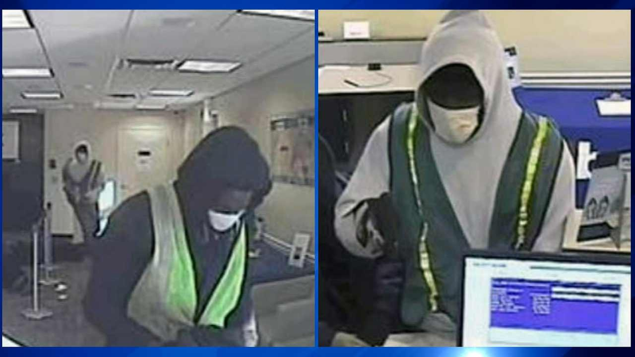 The FBI has released surveillance images of two armed robbers who held up a bank in the citys Bridgeport neighborhood over the weekend.
