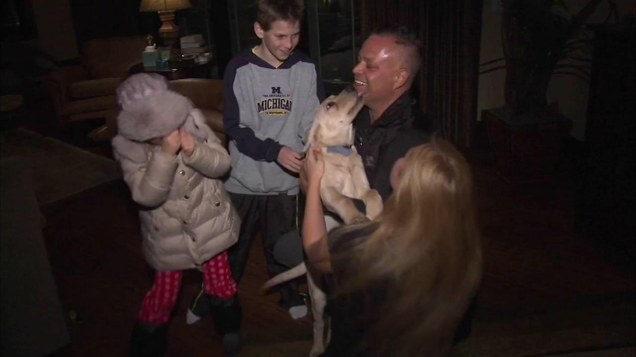 Social media helped bring a puppy named Trigger back home with his family in suburban Oak Brook.