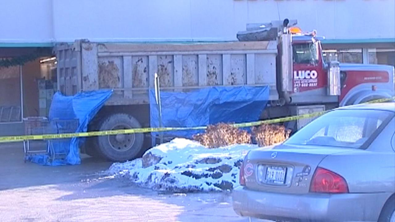 A woman in her 90s was killed after being struck by a dump truck in northwest suburban Des Plaines.