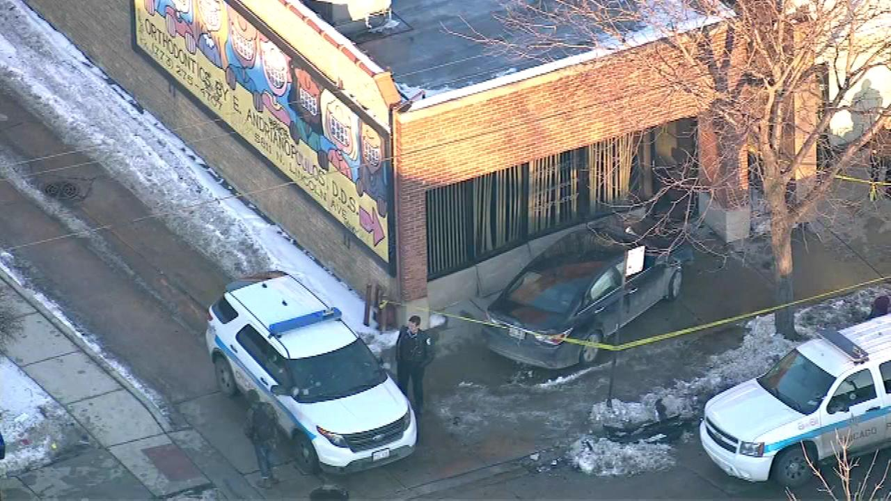 A car jumped the curb and struck a building Thursday afternoon in the 5800-block of Lincoln Avenue on the Northwest Side.