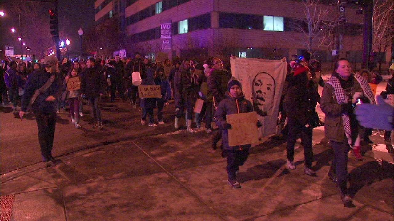 A coalition of activists and young people marched from Village Leadership Academy to the Cook County Juvenile Detention Center.