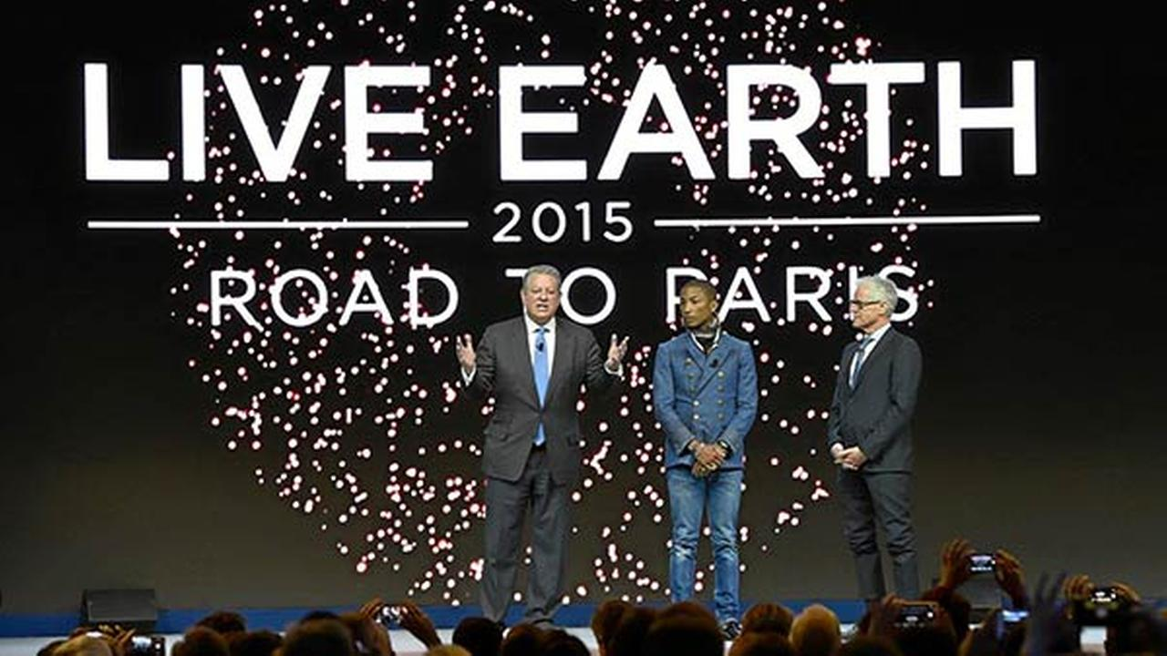 Al Gore, Pharrell Williams and Kevin Wall announce Live Earth: Road to Paris.