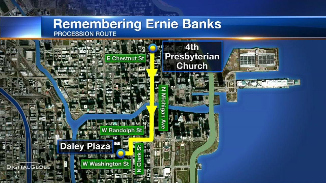 Ernie Banks procession to pass Daley Plaza, Wrigley Field
