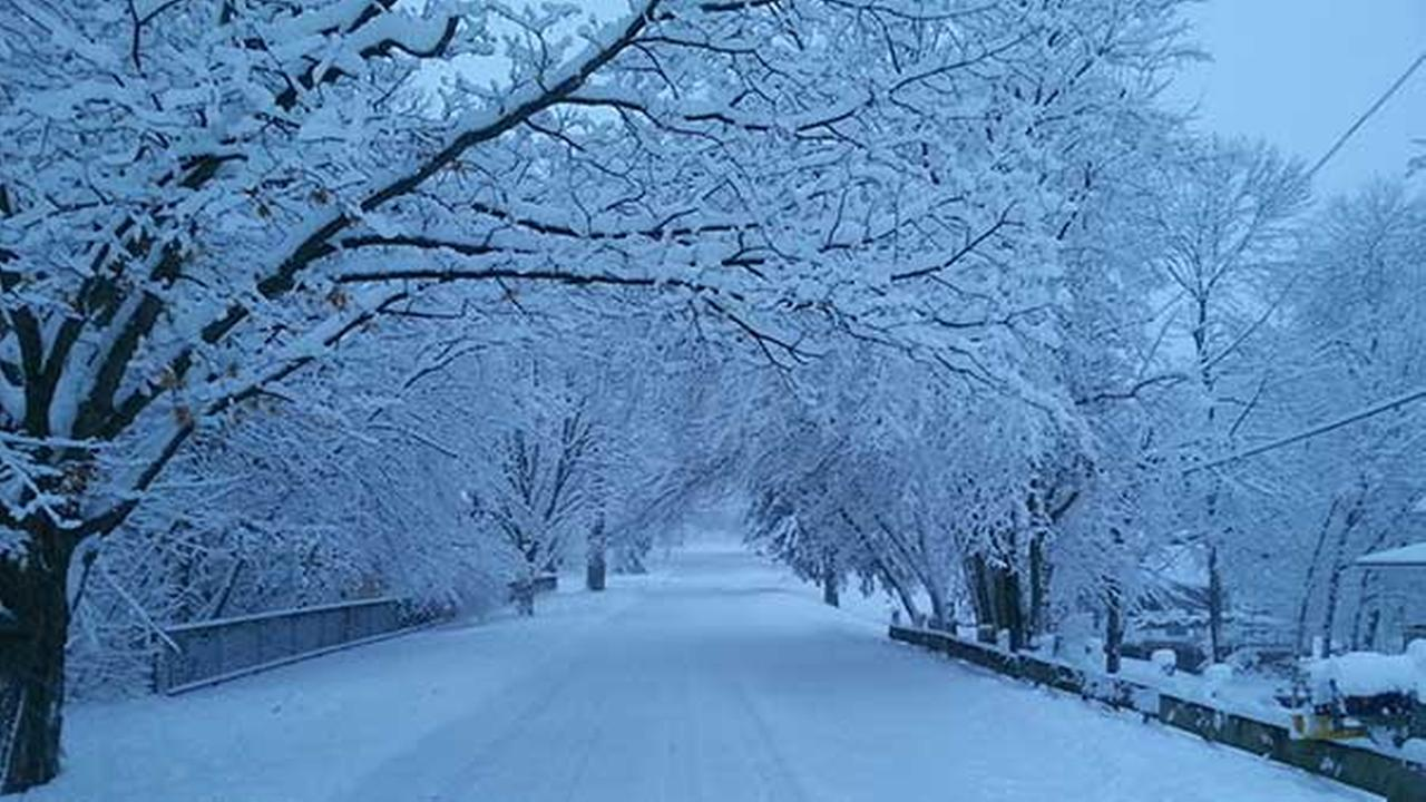 Snow in Oswego, Ill. Main Street on Feb. 1.