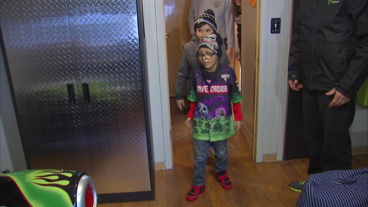 A 7-year-old boy with brain cancer got a big surprise after the crew from Monster Jam helped create his dream bedroom.