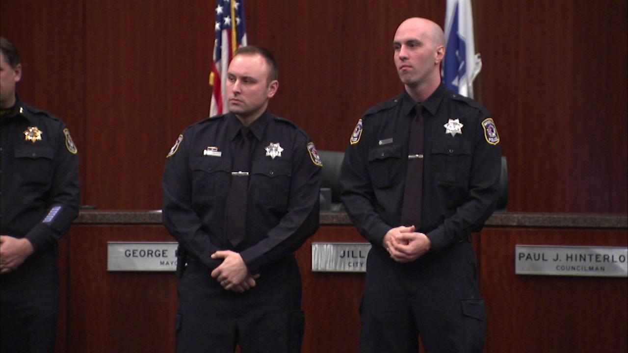 Naperville police officers Jason Duffy and Jeremy Womack were honored Tuesday night.