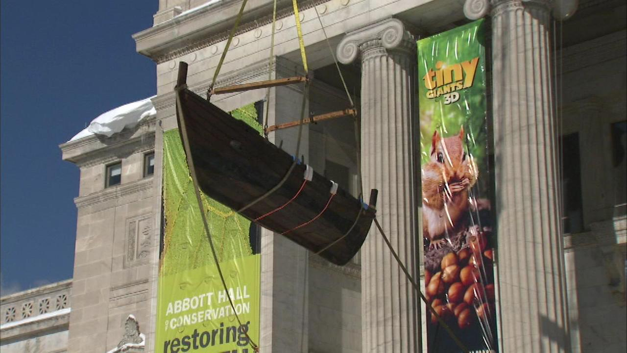 A Viking ship sailed into the Field Museum Thursday with the help of a crane.