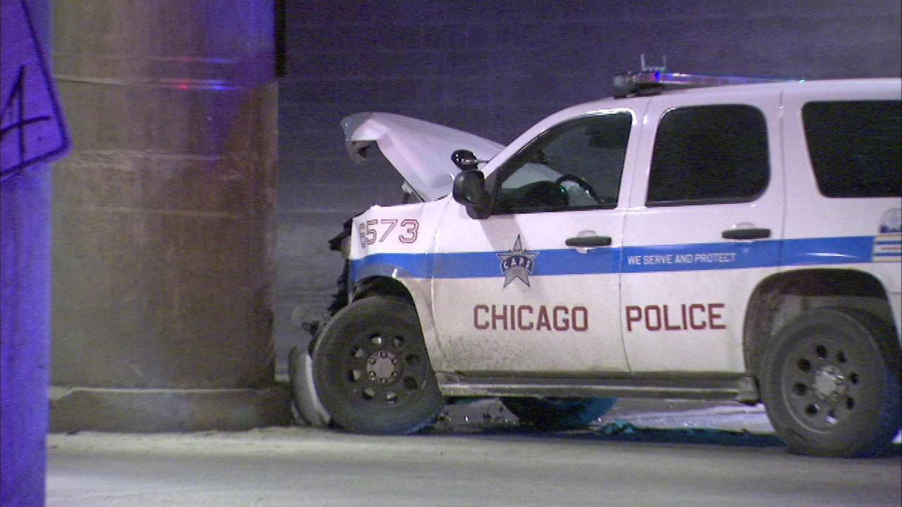 A Chicago police officer and two other people were hurt in a crash on Lower Wacker Drive Thursday night.