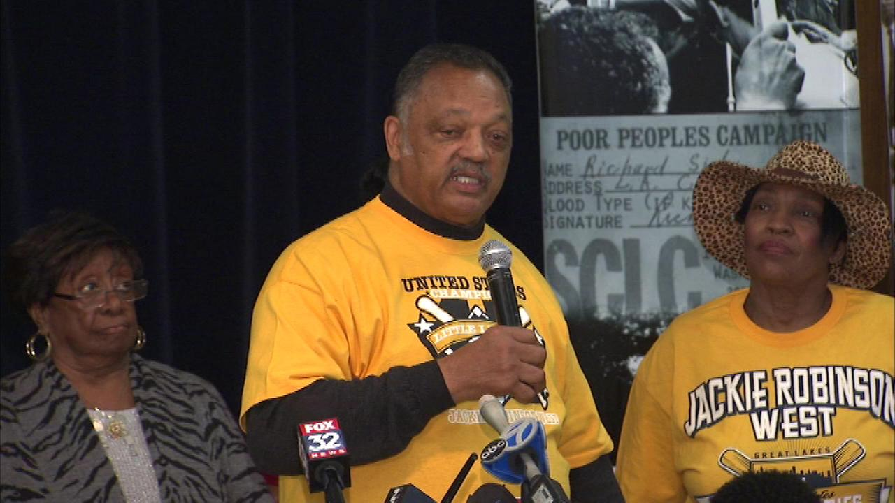 The Rainbow PUSH Coalition held a rally Saturday in support of the Jackie Robinson West All-Stars.