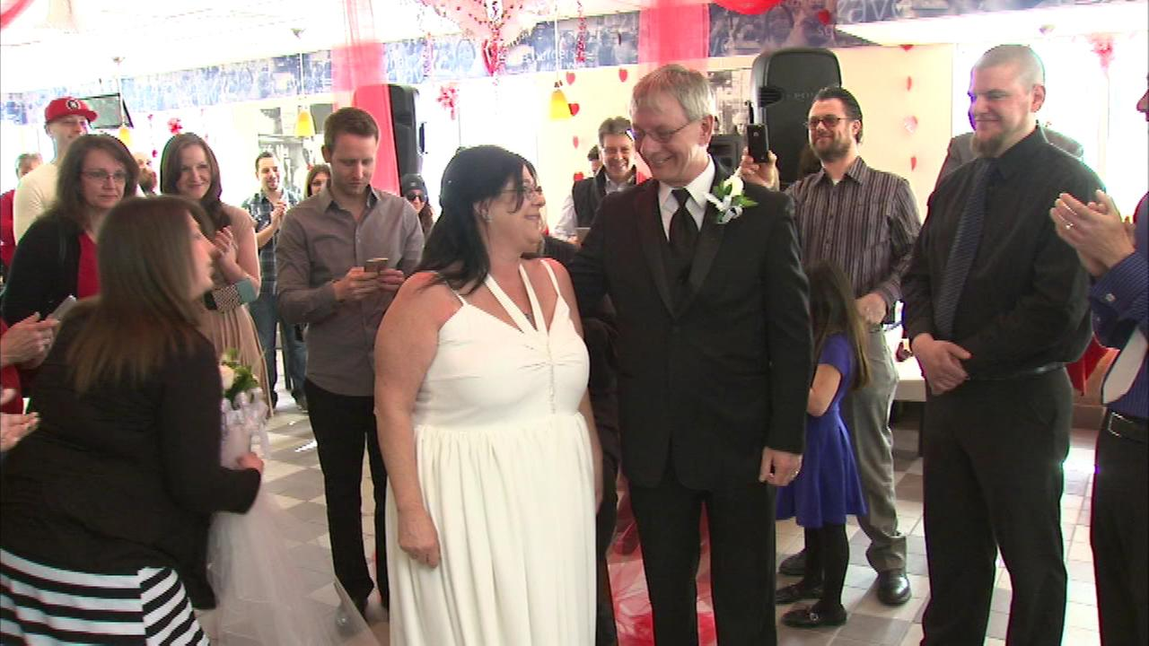 Lorri Corsini and Larry Peterson were married at a Villa Park White Castle on Valentines Day.