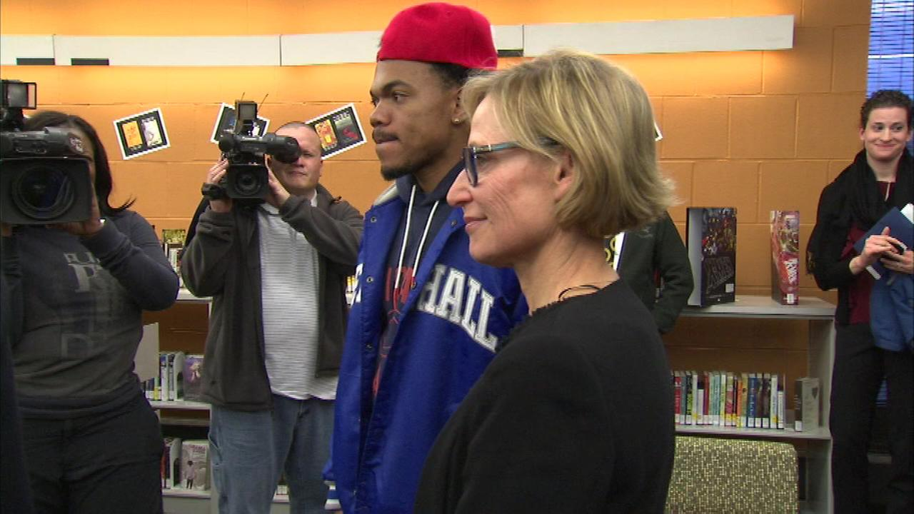 Chance the Rapper and Chicagos First Lady, Amy Rule, attended Wednesday nights opening of the You Media space at the Woodson Regional Library on the South Side.