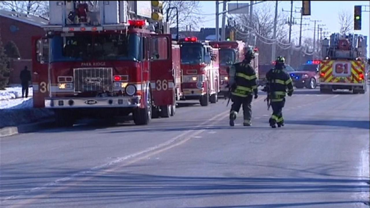 Fire crews outside the Ballard nursing home in Des Plaines on February 19, 2015.