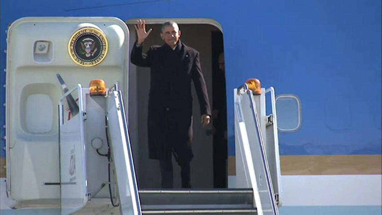 President Obama arrives in Chicago on Thursday, Feb. 19, 2015.