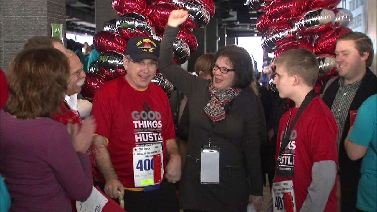 United States Senator Mark Kirk gathered a team of stroke survivors and veterans to make the climb at the Hancock Hustle.