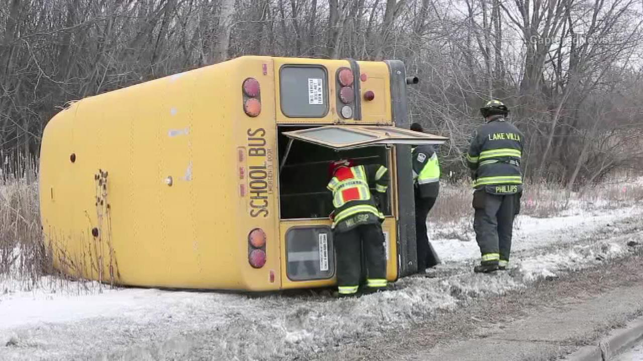 3 children rescued from Lake Villa school bus crash