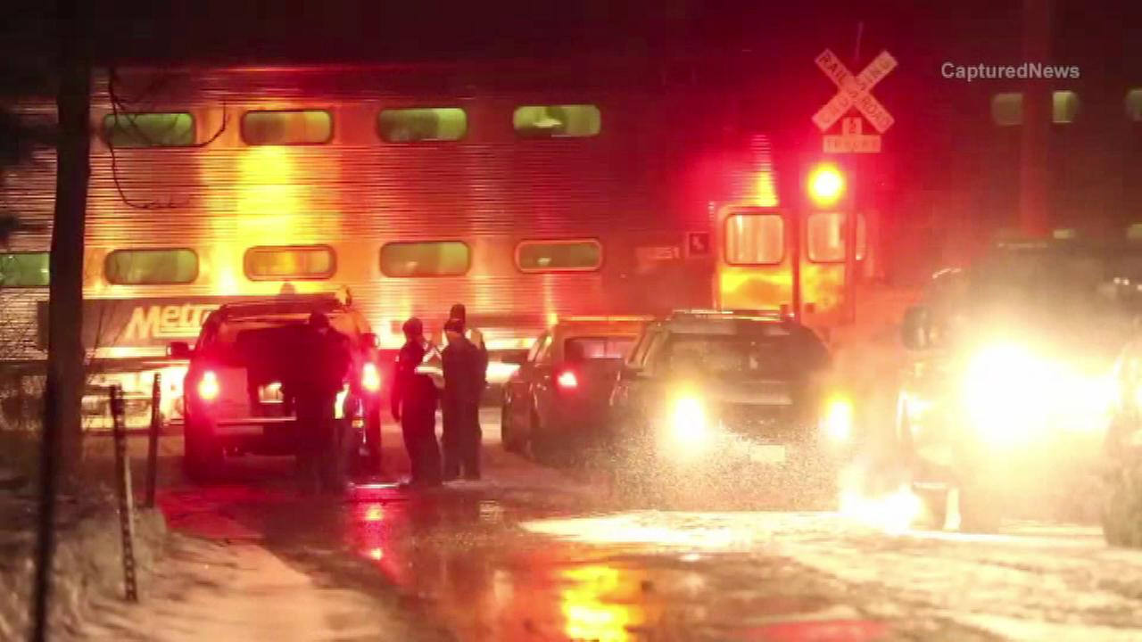 One person was killed Wednesday afternoon when a Metra train struck a vehicle in north suburban Woodstock.
