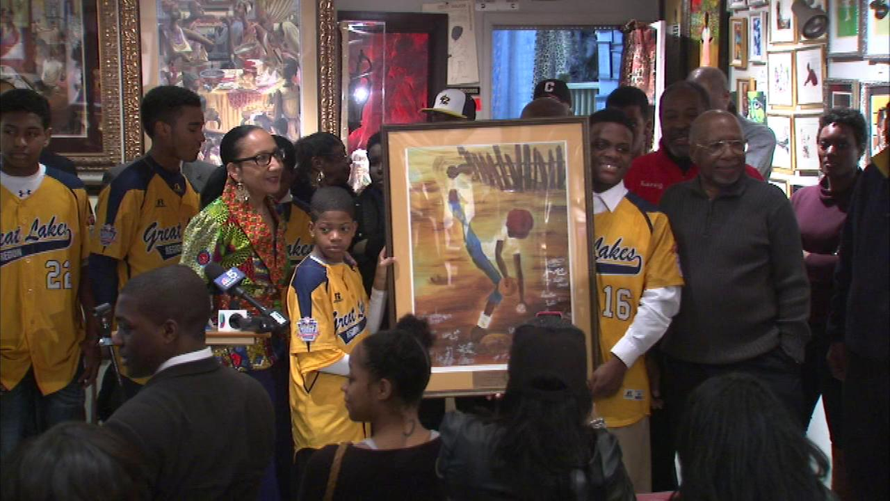 The Jackie Robinson West Little League team received a special honor Sunday at a South Side art gallery.
