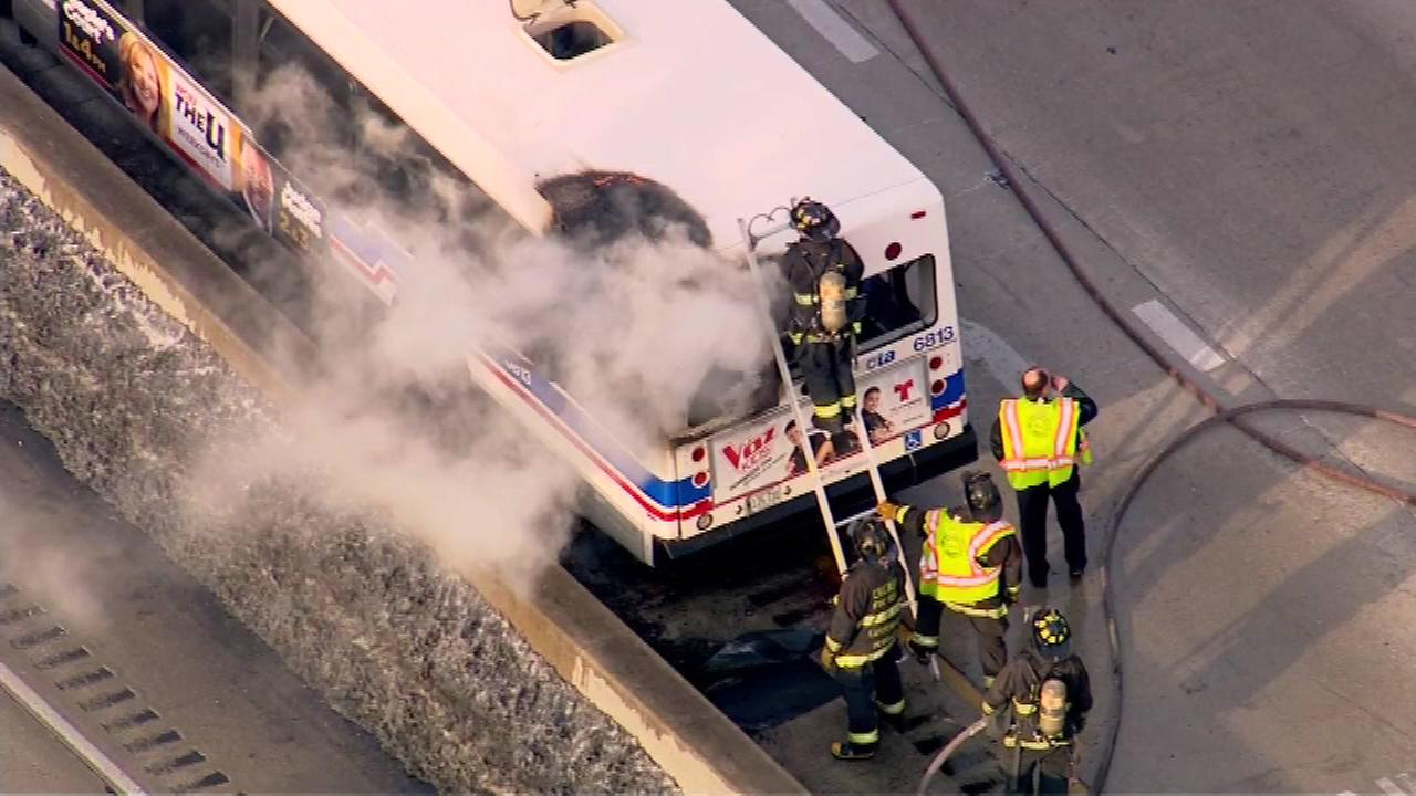 A CTA bus caught fire Monday afternoon in the northbound lanes of the Dan Ryan Expressway near 31st Street.