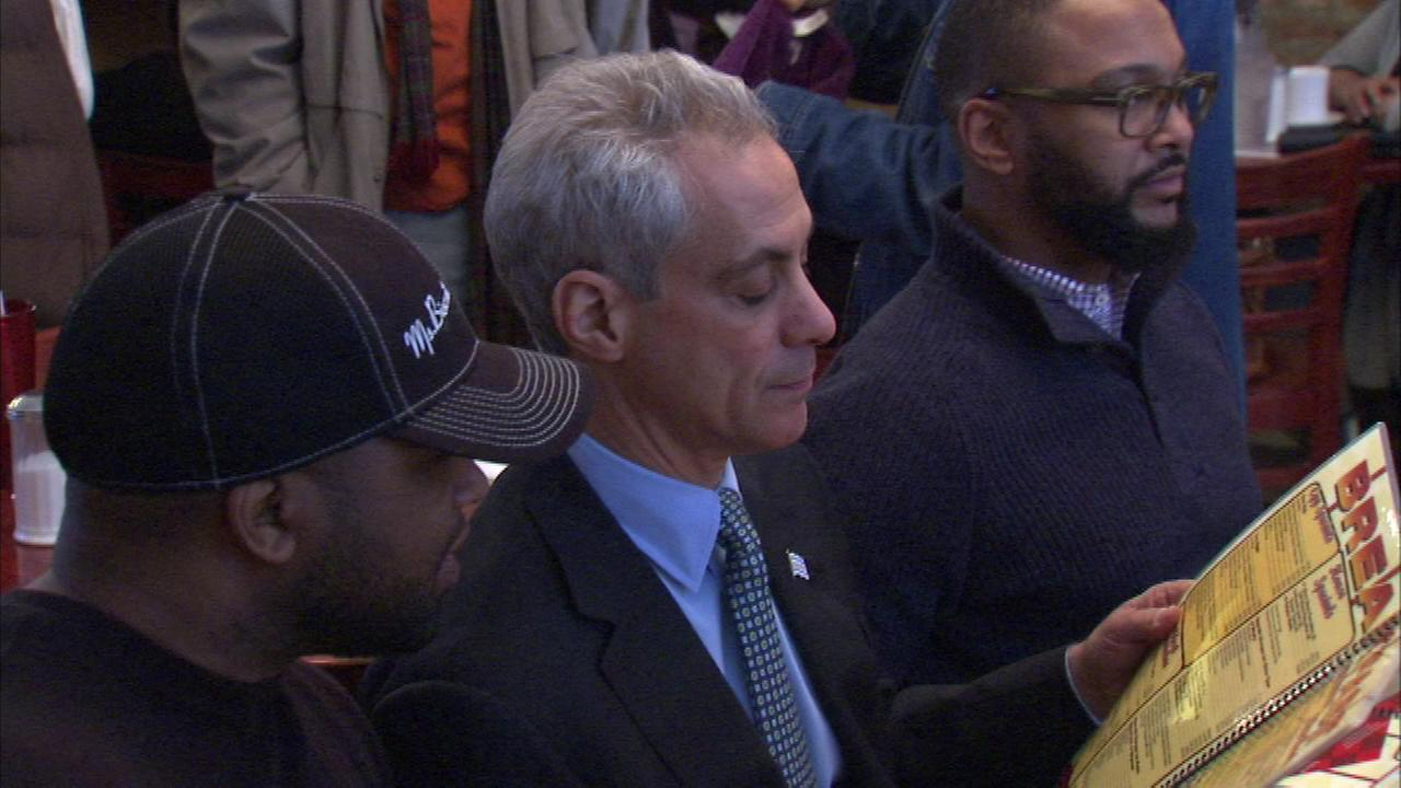 Mayor Rahm Emanuel met with several voters Tuesday at a Bronzeville restaurant.