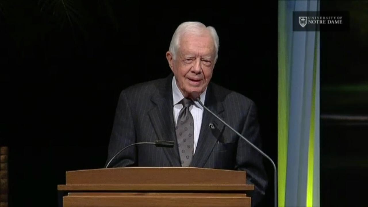 Former President Jimmy Carter paid tribute Wednesday night to the late Rev. Theodore Hesburgh, who headed Notre Dame for 35 years.