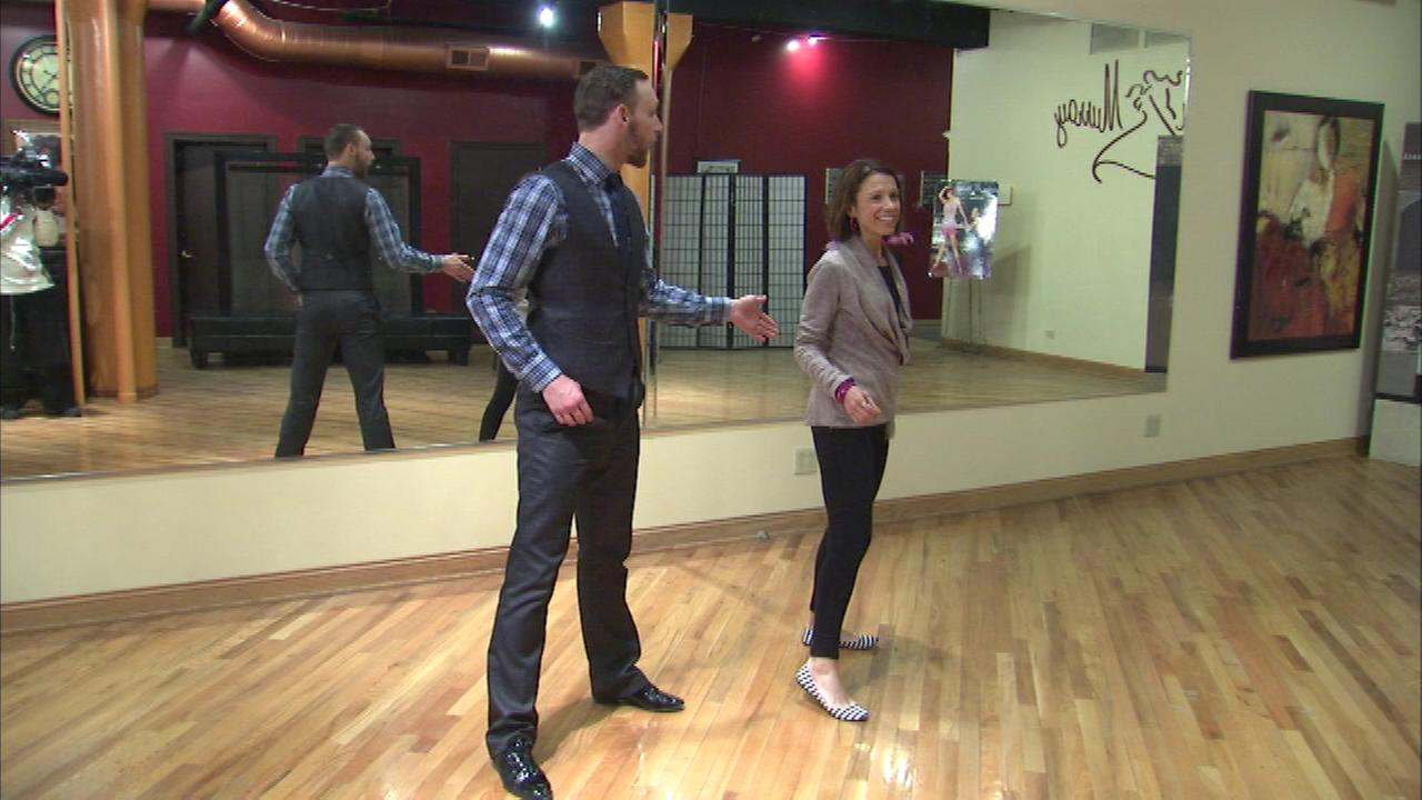 ABC7 Eyewitness News sports reporter Dionne Miller practices for the 10th edition of Dancing with Chicago Celebrities.