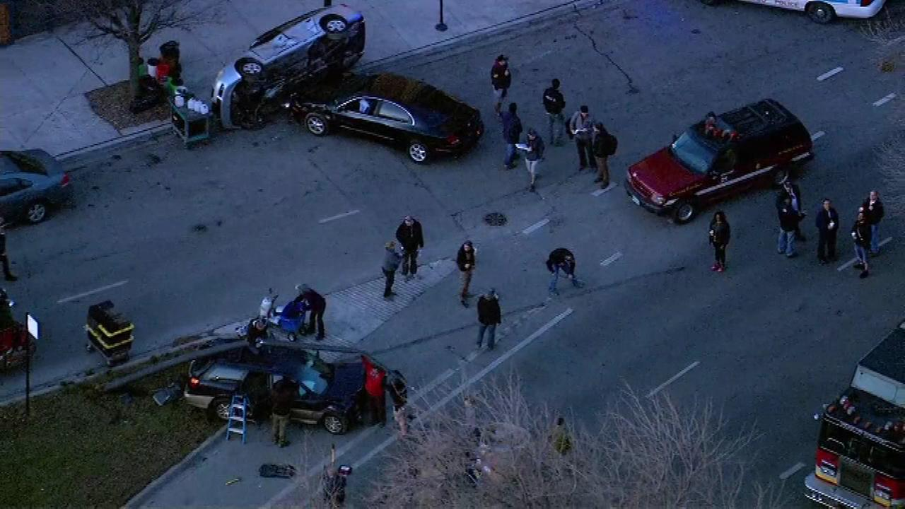 Chopper7 flew over the crew filming scenes from ABCs Runner on Monday.  It looks like a big accident, but its all Hollywood magic.