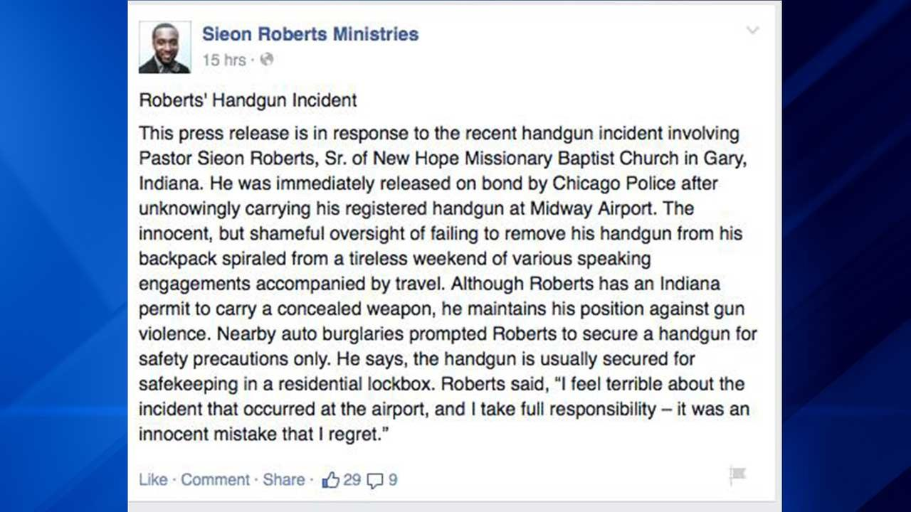Gary minister Sieon Roberts confesses to gun charge on Facebook