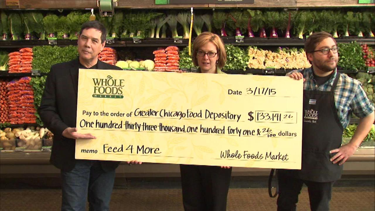 On Tuesday, Whole Foods Market presented a check for just over $133,000 to the Greater Chicago Food Depository.