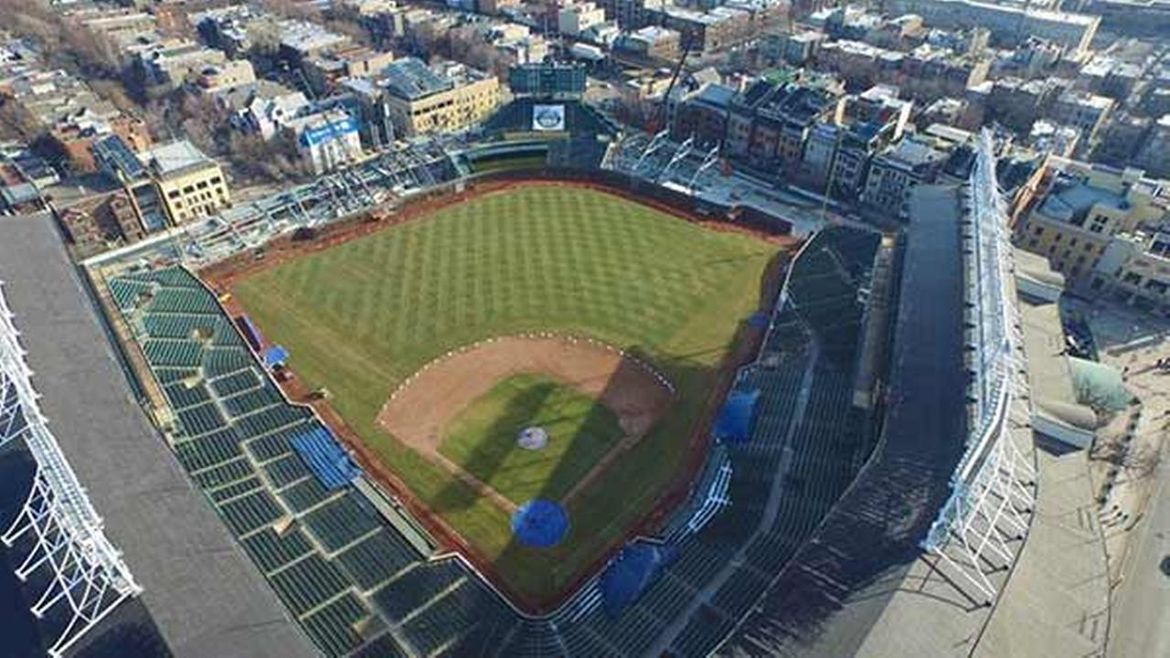 Chicago-based photographer and videographer Colin Hinkle shot drone video this week to see how construction is coming along at Wrigley Field.