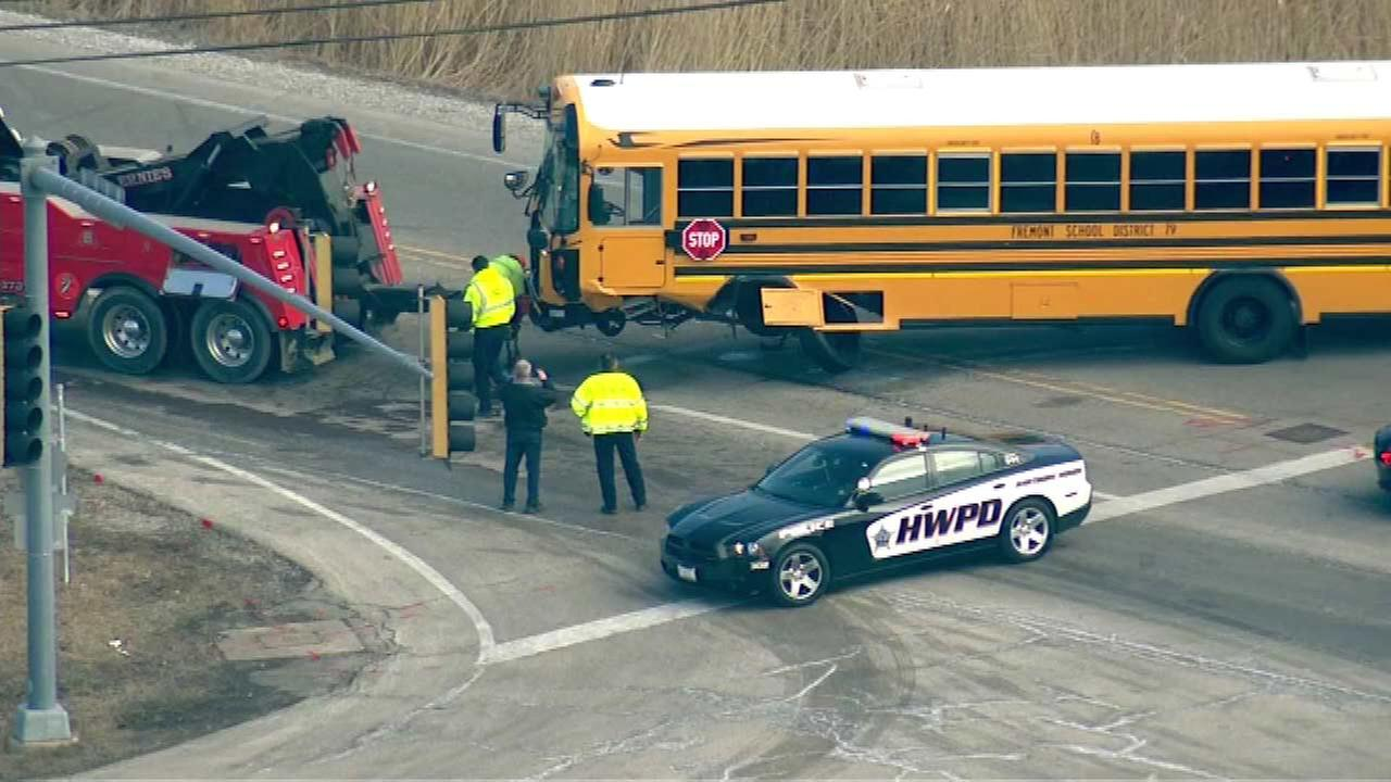Bus carrying 29 students struck by car in Mundelein