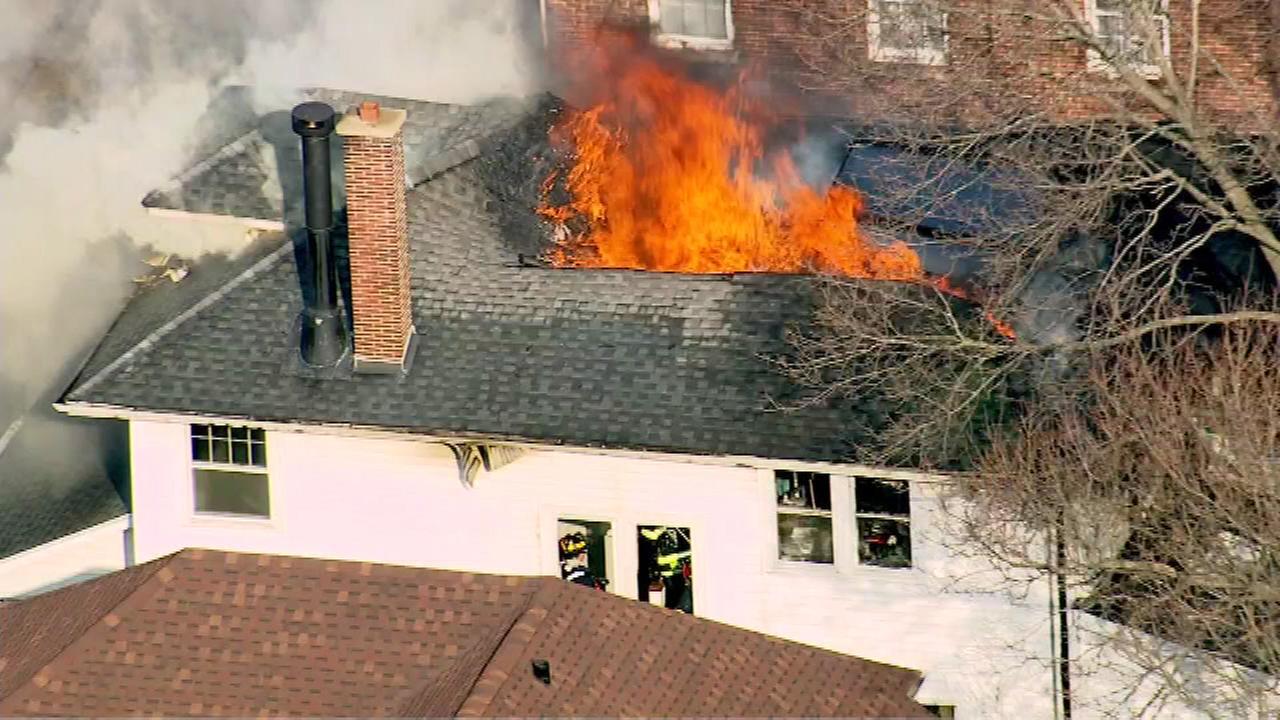 Firefighters battle Evanston house fire