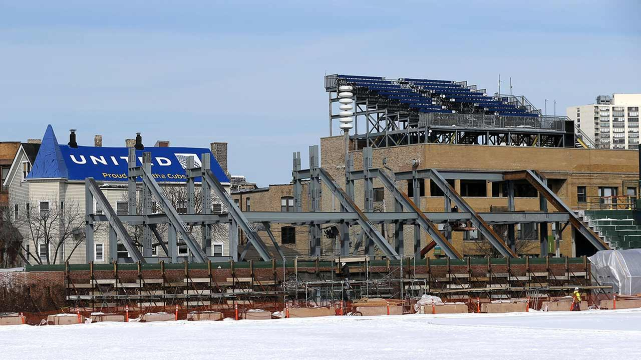 Construction of the left field bleachers and new video board at Wrigley Field on March 2, 2015.
